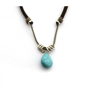 Collar elástico con piedra natural turquesa