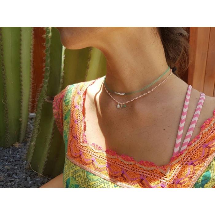 OLAYA - Collar nuditos con plaquitas en Plata