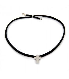 MICA - Collar elástico cruz circonita