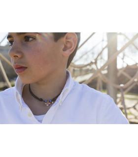 Collar CRUZ CUADRADA en ALGODÓN con nudos -MEDIANA