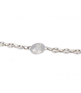 Pulsera escapulario con cadena de plata 17mm