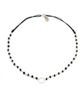 FLORA - Collar piedrecitas y aro plata