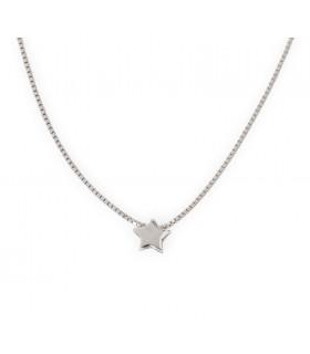 Colla mini estrella cadena fina de plata