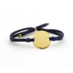 LIMA - Pulsera personalizable placa redonda dorada