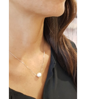 Collar cadena fina con perla grande