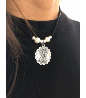 VIRGEN DEL PILAR - Collar elástico con perlas