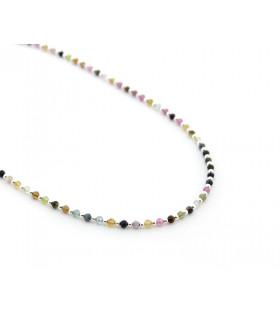 ROS -Collar piedras de colores y bolitas de plata