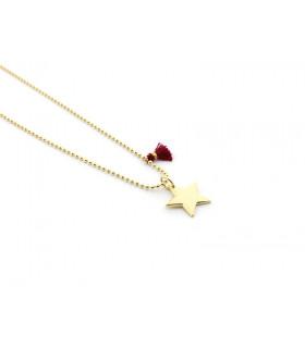 ESTELA - Collar estrella dorada con ponpón