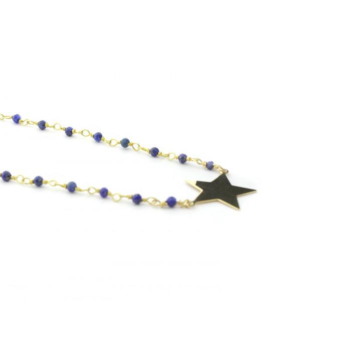 Collar Estrella dorada con piedras semi-preciosas