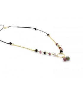 REGINA - Collar con turmalinas y cadena dorada