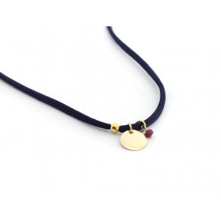 LINA - Collar con plaquita dorada personalizable y turmalinas