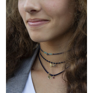 LINA - Collar co plaquita dorada personalizable y turmali