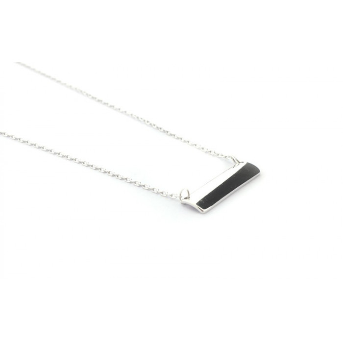 Collar cadena fina de plata rectángulo 22mm