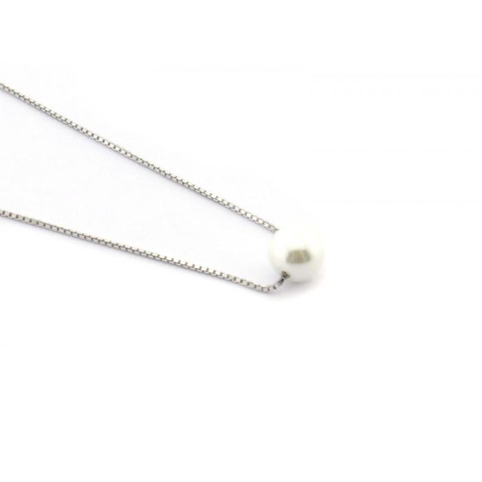 Collar cadena fina con perla mediana