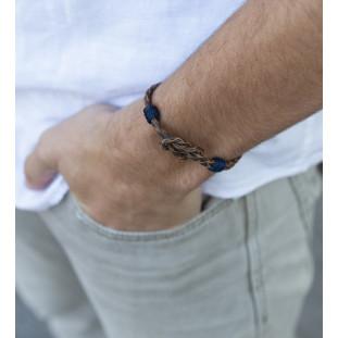 DÚO - Pulsera cuero trenzado con nudo marinero