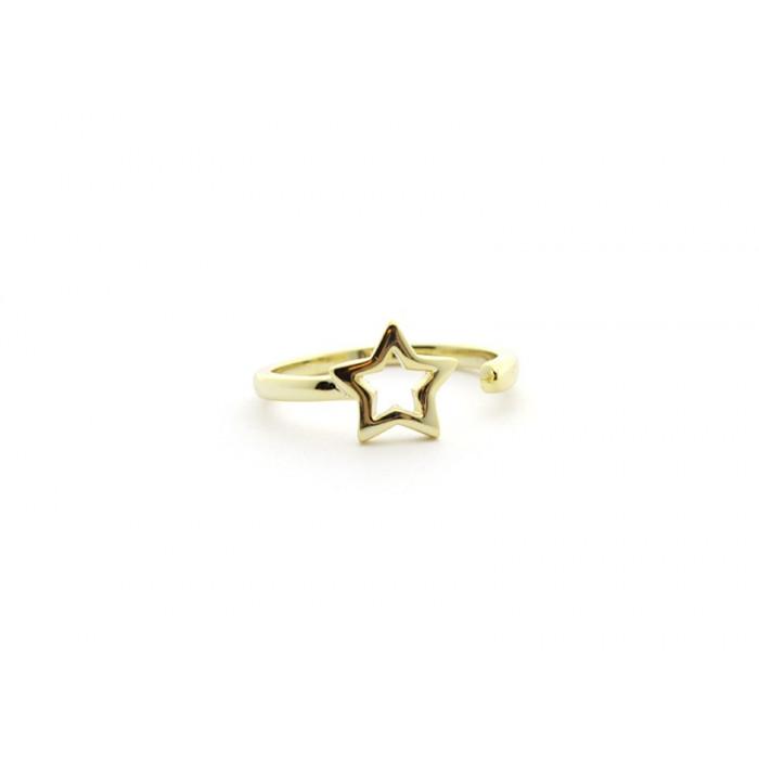 Anillo estrella de plata bañada en oro. Ajustable