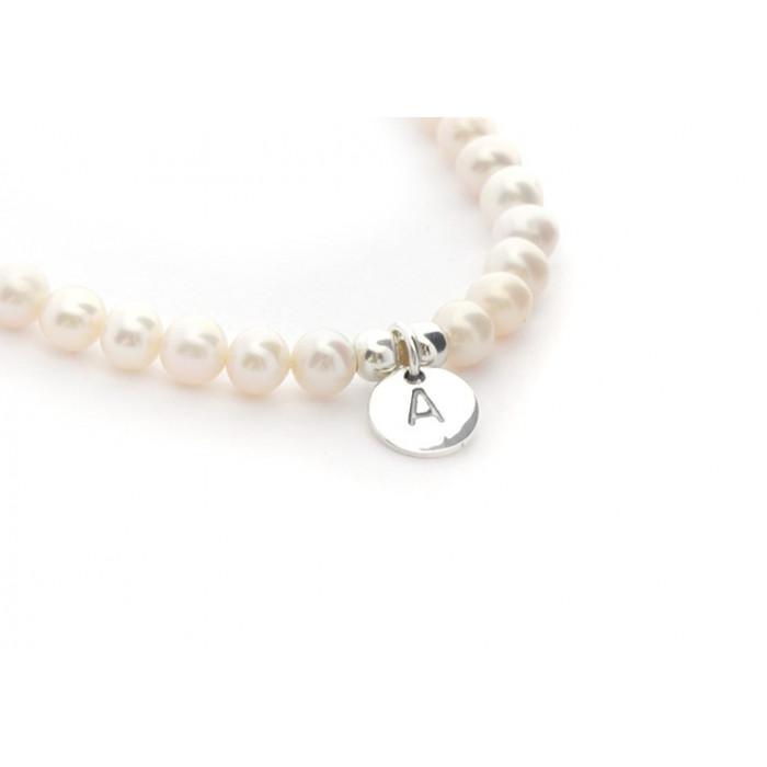 Pulsera perlas con inicial