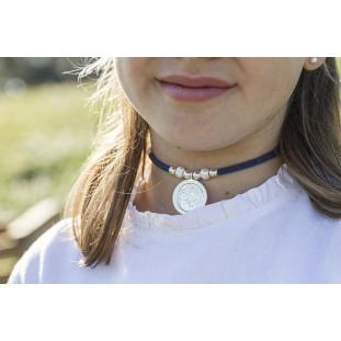 Collar VIRGEN con perlas y bisel