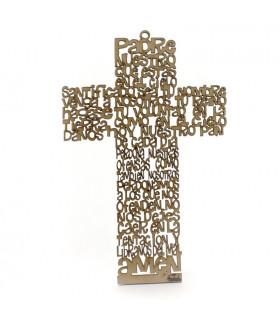 Cruz Padre Nuestro de madera para colgar