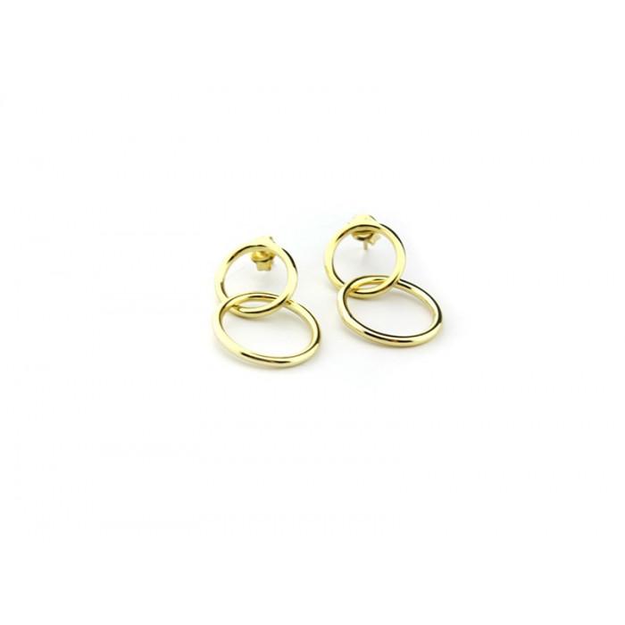 494ddd90fc8c Pendientes 2 aros de plata bañados en oro