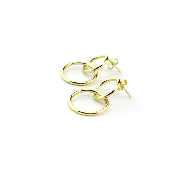 Pendientes 2 aros de plata bañados en oro