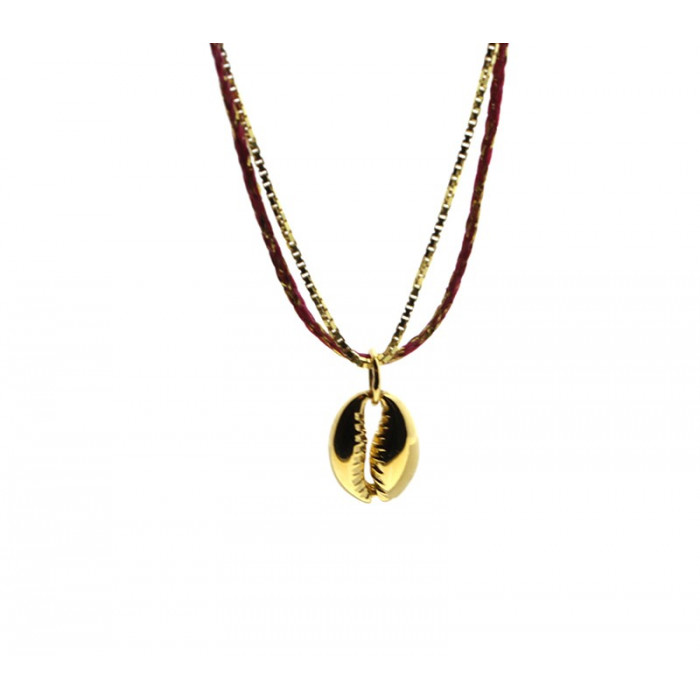 Collar concha plata bañada en oro
