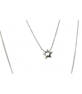 Collar doble cadena fina estrella y luna