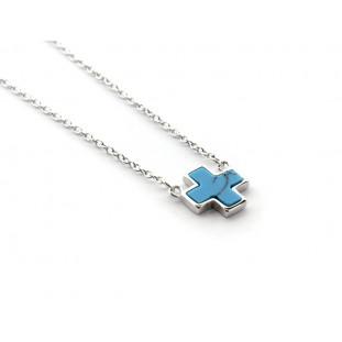 Collar cadena fina Cruz con piedra azul