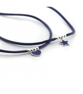 Collar estrella o corazón esmaltado azul
