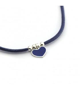 Collar cruz o corazón esmaltado azul