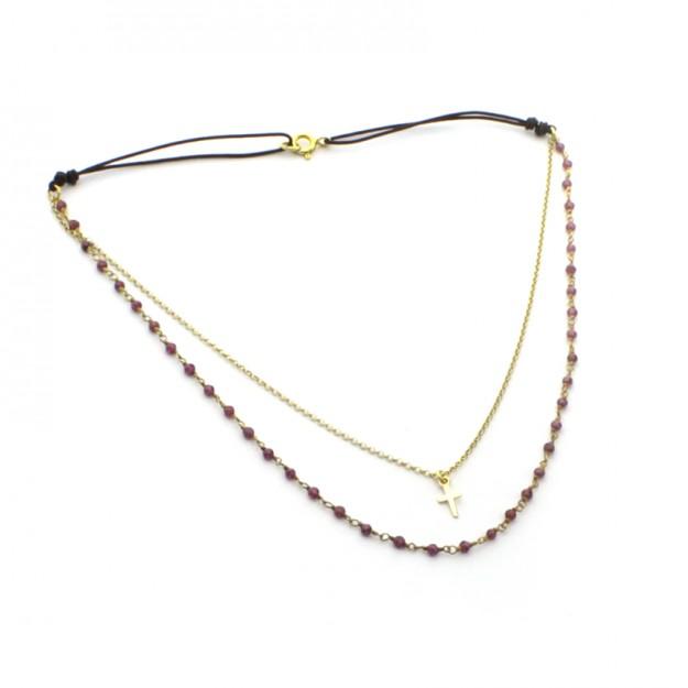 Collar doble dorado con piedras naturales