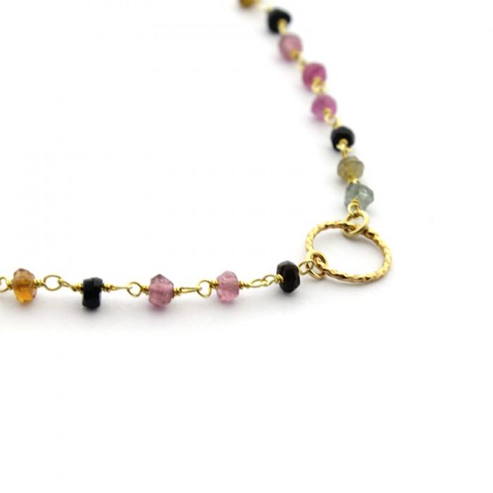 Collar piedras naturales de colores con aro de plata bañada en oro