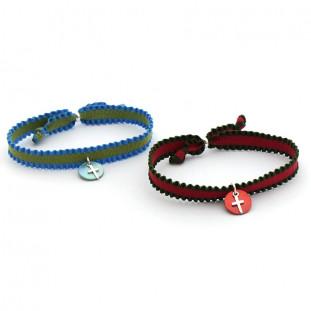 Pack 6 pulseras bicolor cruz de plata sobre nácar