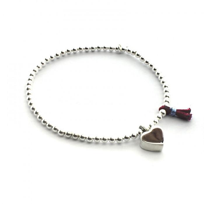 Pulsera corazón de plata