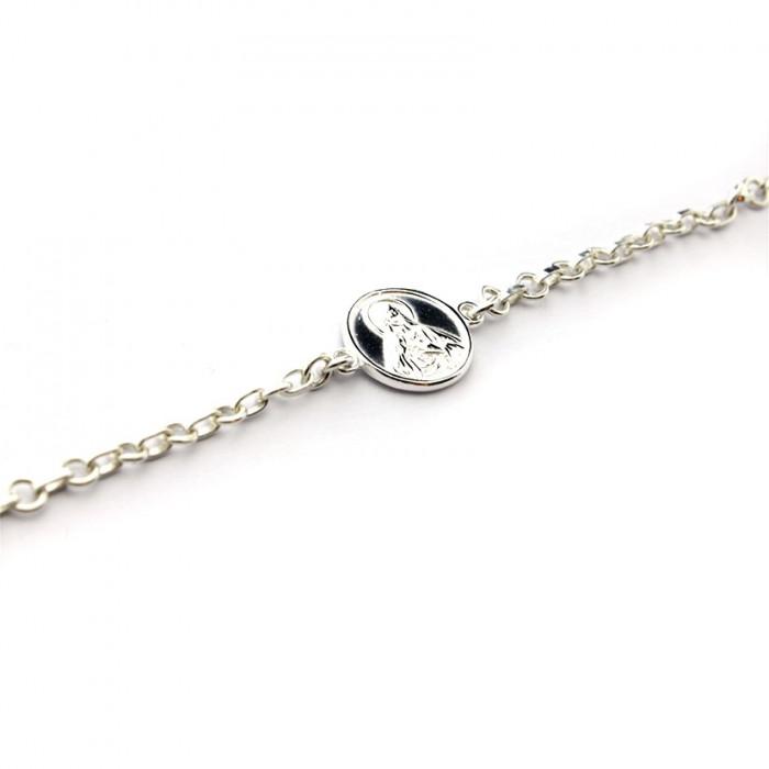 Pulsera escapulario cadena de plata 17mm