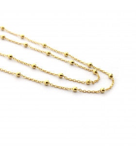 Collar bolitas cadena plata bañada en oro de 40cm