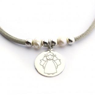 Collar medalla Virgen con perlas - Escoge el dibujo