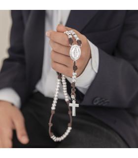 Rosario personalizable de plata y algodón