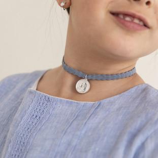 Collar Escapulario macizo choker ajustable 18mm