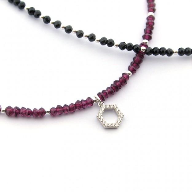 Collar piedras naturales y plata con detalle de circonitas