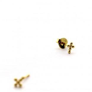 Pendientes Cruz mini de bolitas de plata bañada en oro