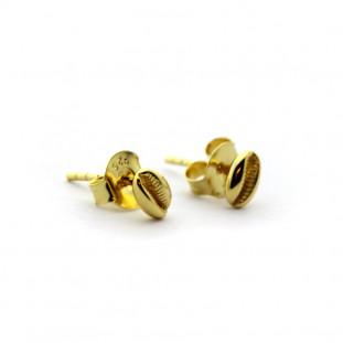 Pendientes concha mini de plata bañada en oro