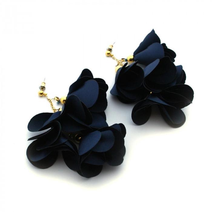 Pendientes flores de seda 8cm de largo