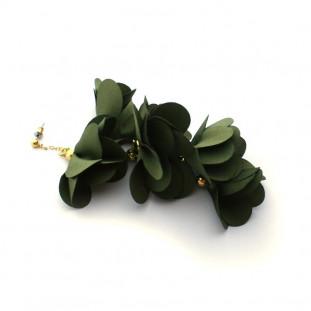 Pendientes flores de seda 11cm de largo