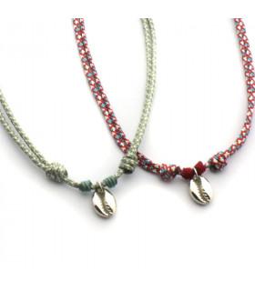 Collar ajustable concha de plata