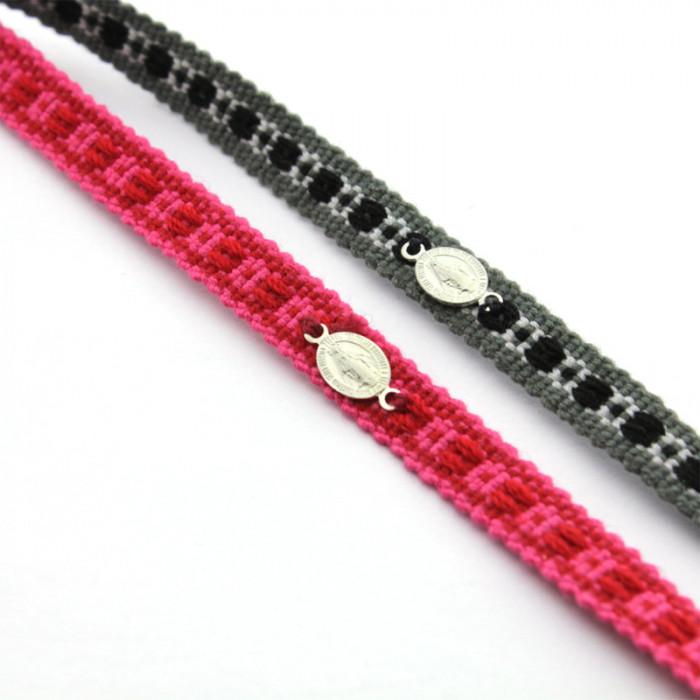 Pulsera tejida con medalla mini de la Milagrosa en plata