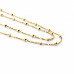Collar plaquita dorada y cadena fina de bolitas
