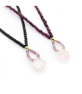 Collar piedras naturales con lágrima de Aguamarina o cuarzo rosa