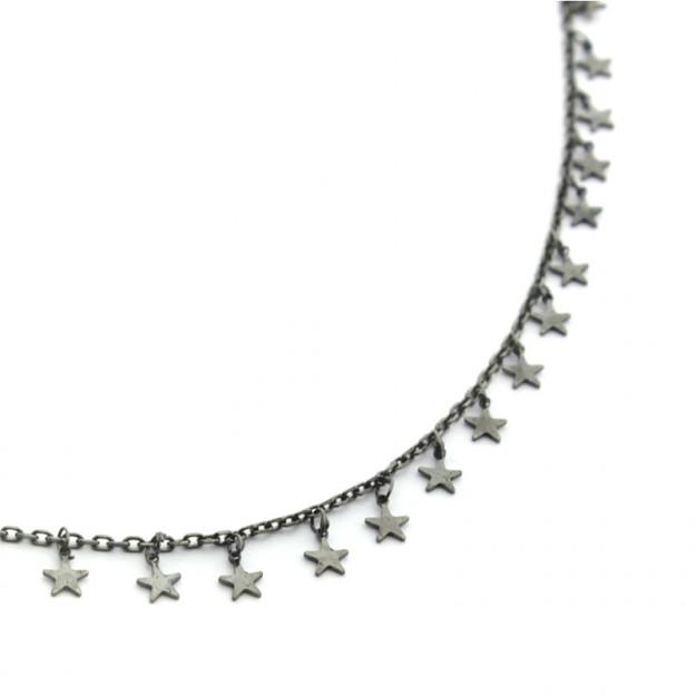 Collar cadena fina con estrellas de plata negra
