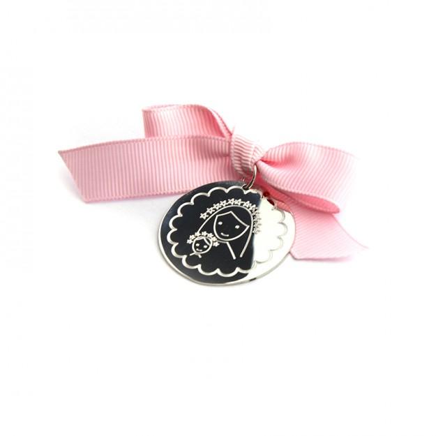 Medalla cuna 35mm con bisel y lazo